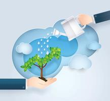 Hand van zakenman die kleine installaties water geven