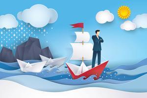 Zakenman op rode en witte zeilboot in de oceaan vector