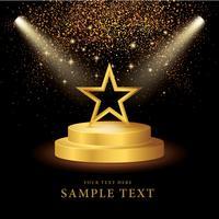 Spotlight op het podium met Gold Star en Glitter