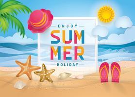 Sand Sea Shore voor zomerseizoen vector