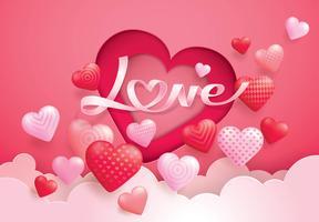 Rode en roze ballon harten vliegen in de vorm van hart vector