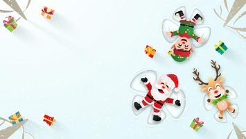 Kerstman die sneeuwhoeken maakt