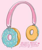 Hand getekend schattig donut hoofdtelefoon illustratie vector