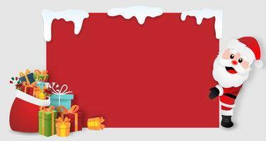 Origami papier kunst van de kerstman met kerstcadeaus kaart vector