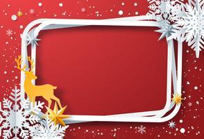 Papier kunst van Winter frame met sneeuwvlokken