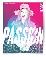 Hand getekend meisje met hoed in roze tinten met typografie vector