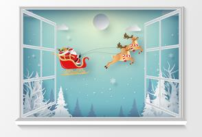 Santa Claus buiten het raam in papierstijl vector