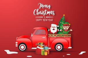 Prettige kerstdagen en gelukkig nieuwjaarskaart met kerstman en elf in rode vrachtwagen
