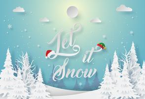 Laat het sneeuwen kaart vector