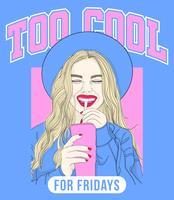 Hand getekend meisje met hoed op drinken en lachend met typografie vector