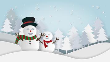 Sneeuwpop landschapskaart in papierstijl