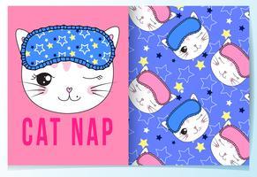 Hand getekend schattig kat dutje kat met slaapmasker patroon set vector