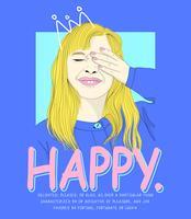 Hand getekend gelukkig meisje met getekende kroon en typografie vector