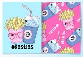 Hand getekend schattige kat frietjes en drinken beste vrienden met patroon set vector