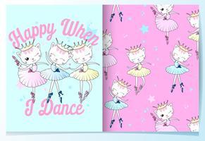 Hand getrokken schattige kat in ballet outfits patroon set vector
