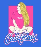 Hand getekend meisje zit met benen gekruist met typografie vector