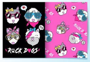 Hand getekend schattige rockmuziek honden met patroon set vector
