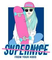 Hand getekend meisje zit met skateboard met typografie vector