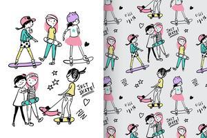 Meisjes gewoon skaten handgetekende patroon