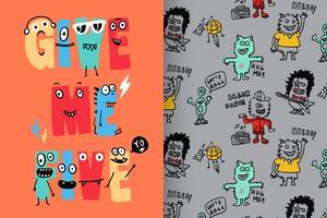 Give Me Five Hand getekend schattig monster met patroon ingesteld