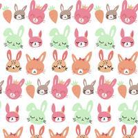Hand getekend baby konijn en wortel patroon vector