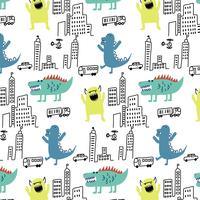 Hand getrokken monsters op stad patroon achtergrond vector