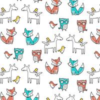Hand getekend dier patroon op witte achtergrond vector