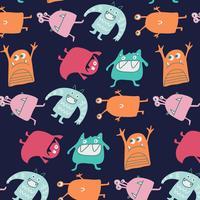 Hand getekend domme kleurrijke monsters patroon vector