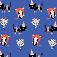 Cartoon katten in Halloween-kostuumspatroon