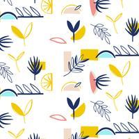 Hand getekend modern vormen bloemenpatroon