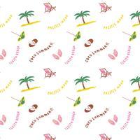 Hand getekend zomer strand patroon vector