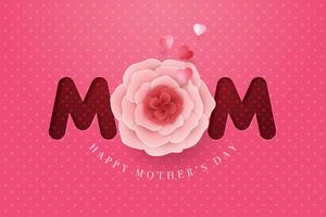 Papieren moederdag bloem Happy Mothers Day kaart