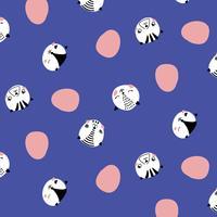 Hand getrokken kat gezichten patroon vector