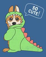 Hand getekend schattige hond in dinosaur kostuum illustratie vector