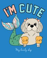 Hand getekend schattige hond met zeemeermin staart illustratie