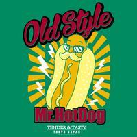 Hand getekend hotdog illustratie