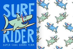 Surf Rider haai met patroon set vector