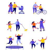 Set van platte mensen familie actieve vakantie tekens vector
