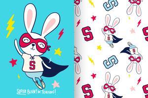 Super Bunny in trainingspatroon ingesteld vector
