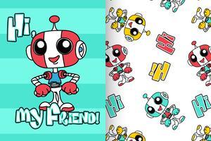 Hallo mijn vrienden Robot Hand getrokken patroon