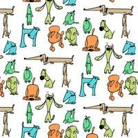 Hand getekend kleurrijk dom hondpatroon vector