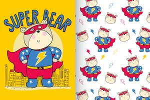 Super Bear Handgetekende patroon set vector