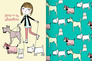 Lopende honden met patroon ingesteld