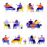 Set van platte mensen getrouwde paren zittend op stoelen of liggend op de bank tekens vector