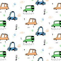 Hand getrokken dierenauto's met gezichtenpatroon vector