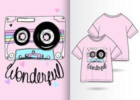 Hand getekend schattig cassette tape t-shirt design vector