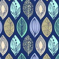 Hand getekend retro blad patroon vector