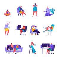 Set van platte mensen gamers karakters vector