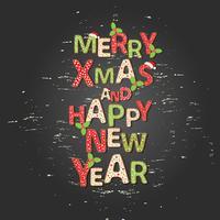 Kerstmisachtergrond met Groetcitaat Vrolijke Kerstmis en Gelukkig Nieuwjaar vector