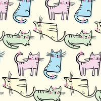 Hand getekend pastel kat patroon vector
